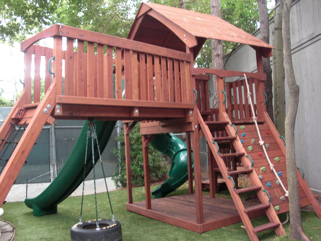 Redwood Fort With Bridge, Cargo Rope Climb, Rock Wall, Tire Swing, 14