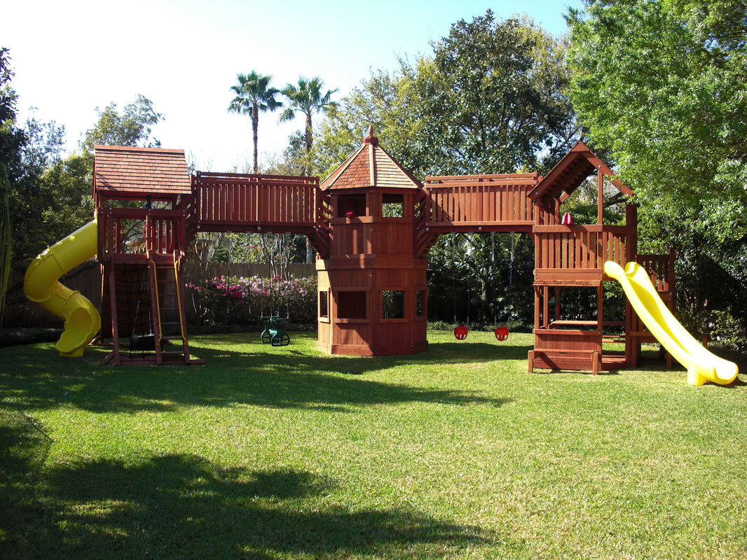 Triple Tower Playset with Dual bridge and Swingset