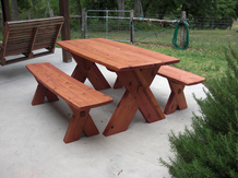 Custom Redwood Full Size Picnic Table