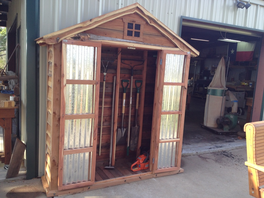 Eastern Red Cedar Garden Shed Made from Cut-offs of Large Custom Playset