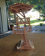 Miniature Redwood Treehouse Made from Old Swingset Parts