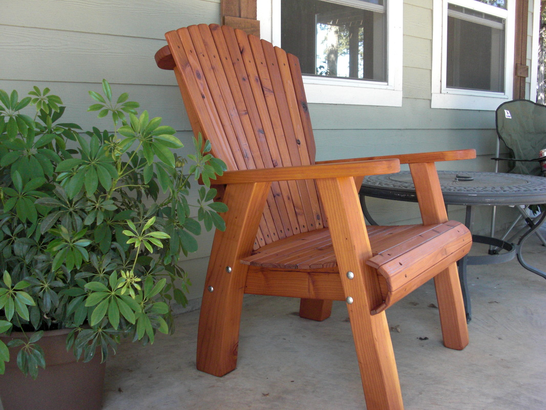 Oversized Redwood Corona Chair Made From Recycled Swingsets