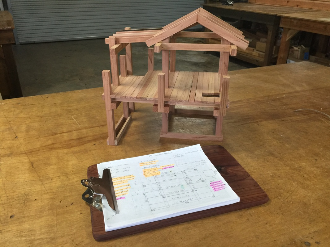 Eastern Red Cedar Clipboard, Playset Plans and Miniature Model of the Otness Family Playset